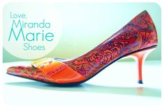 Henna Tattoo Wedding Shoes orange with hand painted Tiger & Flowers