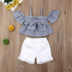 2-piece Baby / Toddler Striped Strappy Top and Stretchy Shorts Set