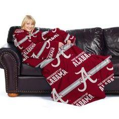 "Alabama Crimson Tide NCAA Adult ""Stripes"" Comfy Throw Blanket with Sleeves"