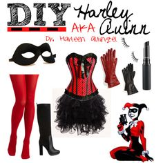 Simply put, Harley Quinn is so popular that she's become Halloween-lovers desire revived. There is no scarcity of Harley Quinn Halloween outfits readily available. However, if you want to Do It Yourself Harley Quinn, here are a few suggestions. Halloween This Year, Halloween 2014, Diy Halloween Costumes, Halloween Cosplay, Cosplay Costumes, Halloween Party, Costume Ideas, Batman Costumes, Batman Outfits