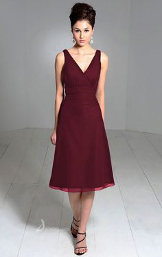 Empire V-neck Knee-length Chiffon Burgundy Dress [Hot1709]