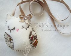 Handmade felt owl necklace