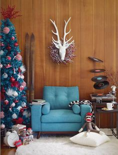 Teals like Christmas. I spy a colour that's a little bit out-there, the very same colour that holds it all together in here Featured: Brighton Arm Chair - Turquoise, Stag Head - White, Lane Nesting Tables, Custom Neptune Calling Rug - White Retro Christmas, Christmas Holidays, Christmas Decorations, Happy Holidays, Urban Barn, Holiday Wishes, My Living Room, Favorite Holiday, Decorative Pillows