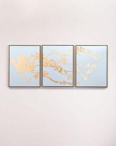 """Style Your Home Today With This Amazing """"Blossoming in Gold"""" Painting 3 Panel Framed Wall Canvas For $2780.00  Discover more canvas selection here http://www.octotreasures.com  If you want to create a customized canvas by printing your own pictures or photos, please contact us."""