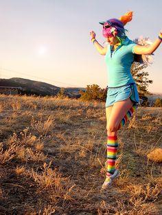 One of my friends Rainbow  Dash Cosplay. I love how she made it look like she as landing! Rainbow Dash: Landing by ~Sakai-MEW-Sky on deviantART