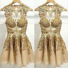 short prom dress, gold prom dress, unique prom dress, see through party dress, cocktail dress, BD89