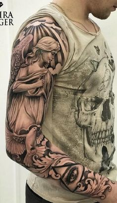 Nov 2019 - You may have come across some beautiful tattoo designs with holy wings or winged beings. There's a general name for this type of tattoos – Angel Tattoo, Half Sleeve Tattoos Cross, Angel Sleeve Tattoo, Unique Half Sleeve Tattoos, Cross Tattoos For Women, Full Sleeve Tattoo Design, Full Sleeve Tattoos, Sleeve Tattoos For Women, Arm Tattoos For Guys, Angel Tattoo Men