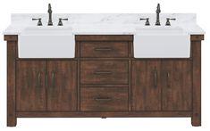 "72"" Double Sink Carrara White Marble Countertop Vanity in Rustic Sienna with Mirror and Faucet Options Discount Bathroom Vanities, Rustic Bathroom Vanities, White Vanity Bathroom, Bathroom Vanity Cabinets, Wood Vanity, Vanity Sink, Bath Vanities, Bathroom Ideas, Vanity Countertop"