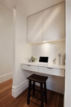 Love this idea for a computer nook. Could be our next project as we have the perfect alcove.