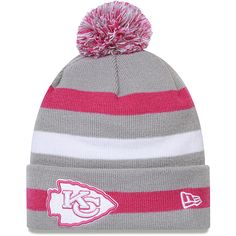 Men s New Era Kansas City Chiefs Breast Cancer Awareness On Field Knit Hat  All Nfl Teams 413dcef24f6