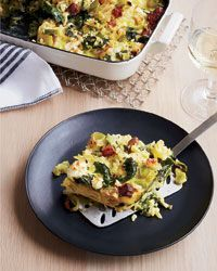 Custardy Baked Orzo with Spinach, Bacon and Feta Recipe on Food & Wine