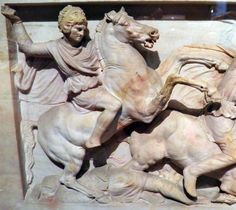 Alexander Sarcophagus, Long Side A (detail), Alexander mounted and charging at a Persian soldier, Istanbul Archaeology Museum   Flickr: Intercambio de fotos