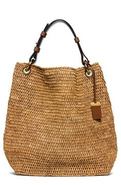 Michael Kors 'Large Santorini' Raffia Shoulder Bag available at - Bags Handbags Michael Kors, Purses And Handbags, Michael Kors Bag, Brown Handbags, Tote Handbags, Santorini, Nordstrom, Bag Women, Large Shoulder Bags
