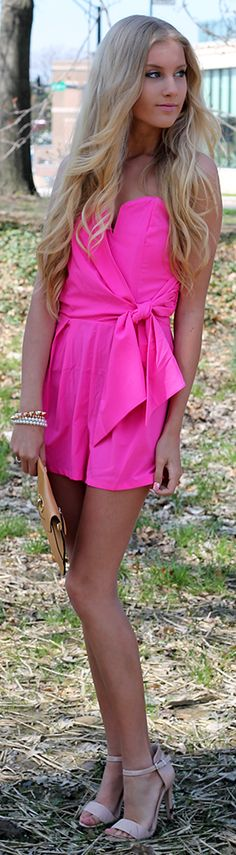 Charlotte Russe Neon Fuchsia Notched Wrap Front Off Shoulder Playsuit