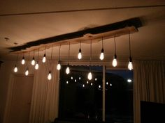 DIY Lamp LED edison filament bulbs slice of tree
