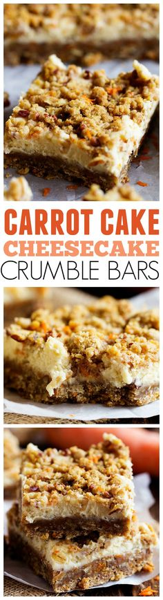 Amazing Carrot Cake Cheesecake Crumble Bars that will be one of the BEST desserts that you have!