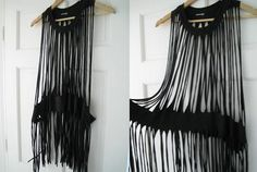 """DIY fringe dress from over sized t-shirt. Beach """"cover-up"""" ;-)"""