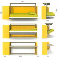 Desk by day--Bed by night, Cabrio In Folding Bed / Desk for Small Space Living