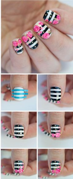 Striped flower nails tutorals and more. In Spanish. Gel Designs, Simple Nail Designs, Beautiful Nail Designs, Nail Art Designs, Nails Design, Nails Decoradas, Valentine Nail Art, Striped Nails, Flower Nail Art