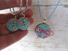 Blue Button Necklace Necklace Earrings Set by BrownBeaverBeadery