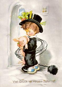 Mehr illustration for kids Halloween Illustration, Pig Illustration, Halloween Drawings, Illustrations, Vintage Halloween Cards, Pink Halloween, Vintage Postcards, Vintage Images, Drawing For Kids