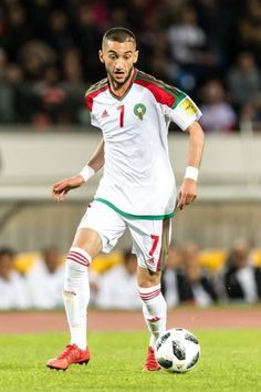 Hakim Ziyech of Morocco during the international friendly match between Morocco and Uzbekistan at the Stade Mohammed V on March 2018 in Casablanca, Morocco Neymar, Messi, Real Madrid, Premier League, Atlas, Canal E, Team Usa, Champions, Best Player