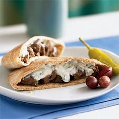 Stuff whole wheat pitas with savory strips of lamb and a cool cucumber and yogurt tzatziki sauce for a fresh and flavorful meal from the Mediterranean. Try the recipe with chicken, too. Pita Recipes, Lamb Recipes, Greek Recipes, Cooking Recipes, Arabic Recipes, Cooking Tips, Mediterranean Dishes, Mediterranean Diet Recipes, Cucumber Yogurt Sauce