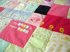 Baby Clothes Quilt- I must do this!  I need a reason to keep some of those memories, not just give all of them away!.. wish I found the idea sooner!