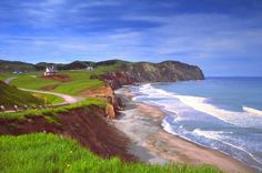 Magdalen Islands, Quebec, Canada Erosion from intense winds is causing the unspoiled coastline to receed yearly. Great Places, Places To See, Beautiful Places, Velo Quebec, Quebec City, White Cliffs Of Dover, Climate Change Effects, Newfoundland And Labrador, Le Havre