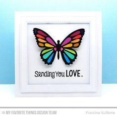 You've Got Mail, Flutter of Butterflies - Lace Die-namics, Stitched Square Frames Die-namics - Francine Vuillème  #mftstamps