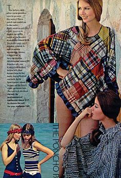 gold country girls blog:: Madras Plaid Ponchos in Seventeen {seated model is Susan Dey of Partridge Family fame}