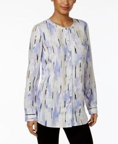 Jm Collection Abstract-Print Roll-Tab Blouse, Only at Macy's - Purple XXL