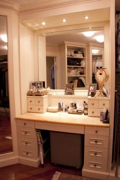 Master Walk In Closet Make Up Table