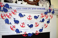 Whale Garland, Nautical Anchor whale decoration, nautical baby shower, Grey navy…