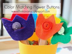 Practical life work for spring -- Button Flower Color Matching - repinned by @PediaStaff – Please Visit ht.ly/63sNtfor all our pediatric therapy pins