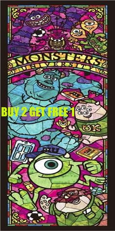 Disney Stained Glass Monsters 024 Cross Stitch Pattern Counted Cross Stitch Chart, Pdf Format, Instant Download /137275 by icrossstitchpattern on Etsy