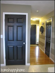 House Revivals: Painting Interior Doors Black or a very dark brown and wall color and horizontal stripe hallway