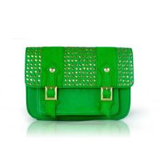 EMMA MINI Purse - The Emma Mini in tropical green and studded details is your perfect companion for a day out. Sling it as a cross-body or on your shoulder with the adjustable strap. Bright neon lining and 1 zipper pocket inside. http://www.luxandeco.com/OnlineCatalog/EMMA_MINI-details.aspx