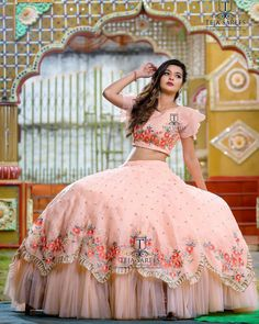 1 person, standing and weddingYou can find Pink saree and more on our person, standing and wedding Indian Bridesmaid Dresses, Indian Gowns Dresses, Indian Fashion Dresses, Indian Wedding Outfits, Indian Designer Outfits, Bridal Dresses, Designer Dresses, Designer Wear, Bridesmaid Skirts