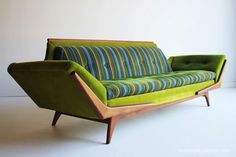 1960s mid century modern couch in the color combo that was the new COOL... olive green & teal blue!