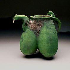 Ken Ferguson  - Tri Udder Ewer with Mermaid Handle, 2003,   stoneware, chrome slip