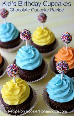 Kids Birthday Cupcakes: Moist Chocolate Cupcake Recipe with Creamy Buttercream Frosting and DumDum Sucker Decoration | HoosierHomemade.com