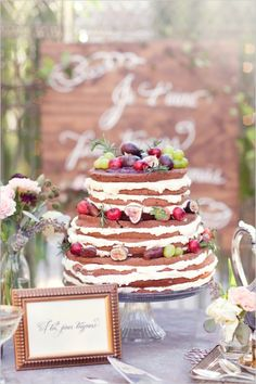Naked wedding cake from Whole Foods.