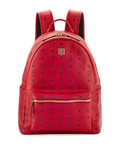 MCM STARK NO STUD MEDIUM BACKPACK, RED. #mcm #bags #leather #canvas #backpacks #