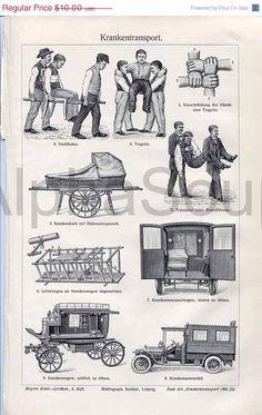 Medical Patient Transport Ambulance 1909 German Engraving Antique Engraving Print