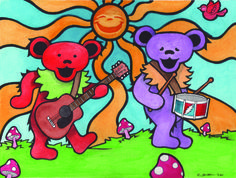 Grateful Dead Bears In the Sun - Deadhead Psychodelic Art Hippie Home Decor - print of original painting Grateful Dead Albums, Grateful Dead Dancing Bears, Hippie Love, Hippie Art, Queen Of Spades, Hippie Home Decor, Bear Art, Rainbow Print, Cool Bands