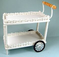 white wicker tea cart