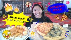 DOMINO'S PIZZA & FIRE NOODLE// MUKBANG