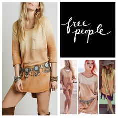 "Free People Peached Out Bliss Ombré Tunic.  NWT. Free People Tanna Peached Out Bliss Ombré High Low Tunic, linen/polyester/rayon, machine washable, 24"" armpit to armpit (48"" all around), 11"" arm inseam, 30"" front length, 32.5""'back length, scoop neck, super soft washed pullover, oversized body with a breast pocket, pleat in back, slight high low hem, distressed tattered worn-look around neckline, sleeves, and hemline, measurements are approx.  Truest color is fourth pic frame.  No Trades…"
