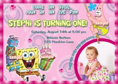 Pink Spongebob Birthday Party Invitation   $13.00  Pink or Blue  contact creationsbytammy@gmail.com